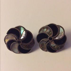 Vtg sterling screw back earrings abalone onyx